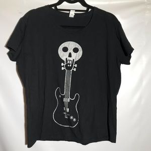 Skull with guitar rocker T shirt on Anvil T shirt